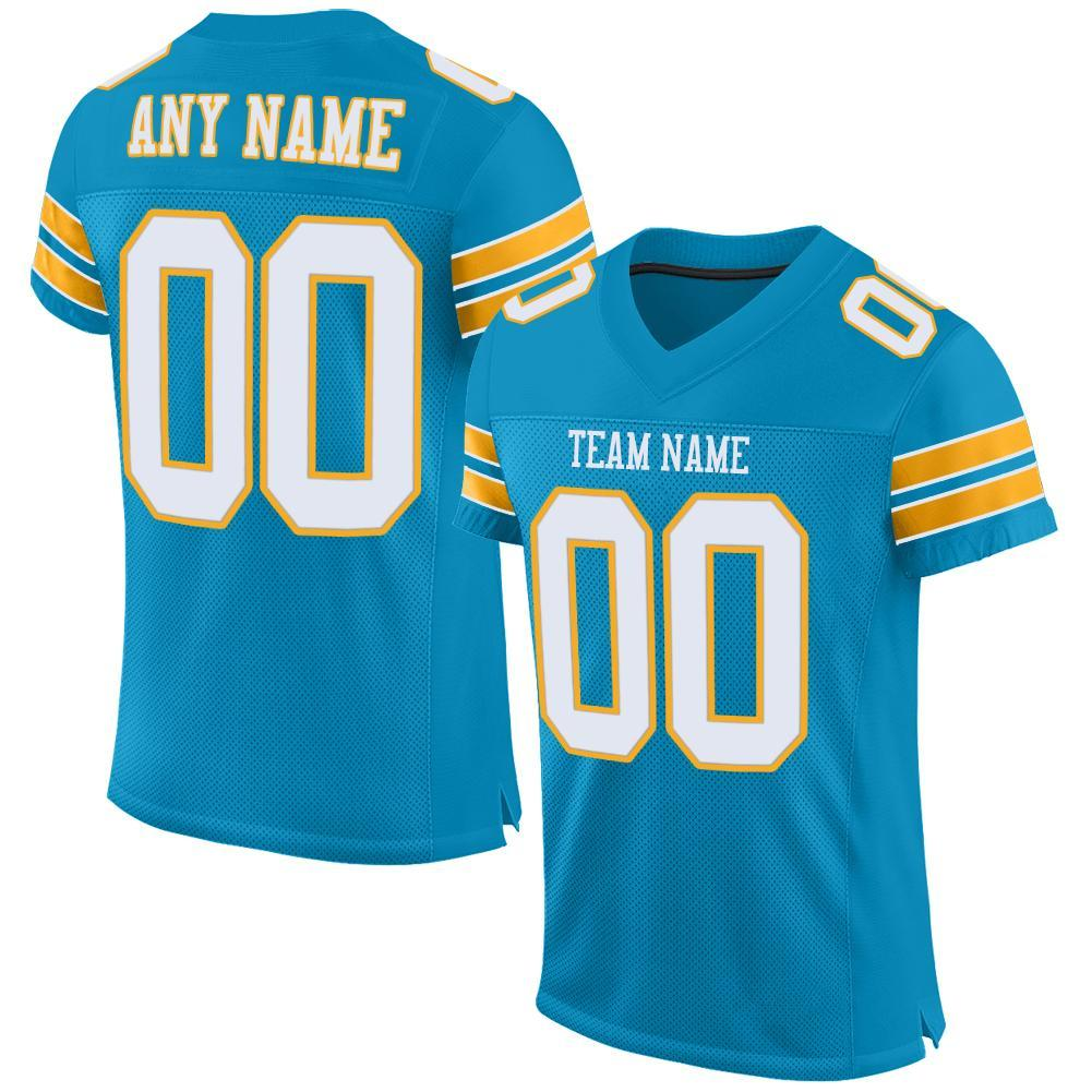 Custom Panther Blue White-Gold Mesh Authentic Football Jersey
