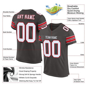 Custom Pewter White-Red Mesh Authentic Football Jersey