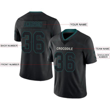 Load image into Gallery viewer, Custom Black Midnight Green-Gray Mesh Drift Fashion Football Jersey
