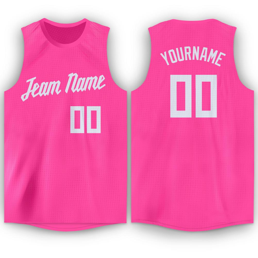Custom Pink White Round Neck Basketball Jersey