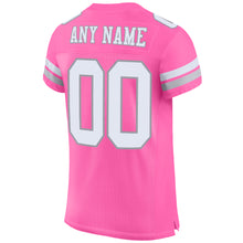 Load image into Gallery viewer, Custom Pink White-Light Gray Mesh Authentic Football Jersey