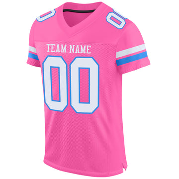 Custom Pink White-Powder Blue Mesh Authentic Football Jersey