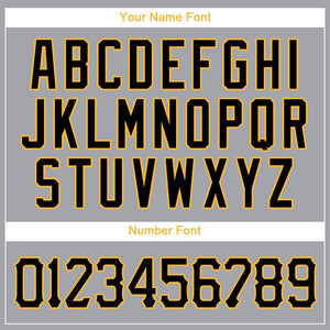 Custom Gray Black-Gold Baseball Jersey