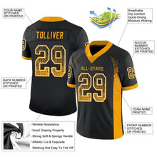 Load image into Gallery viewer, Custom Black Gold-White Mesh Drift Fashion Football Jersey