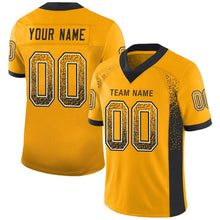 Load image into Gallery viewer, Custom Gold Black-White Mesh Drift Fashion Football Jersey
