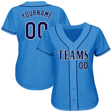 Load image into Gallery viewer, Custom Powder Blue Navy-White Authentic Baseball Jersey