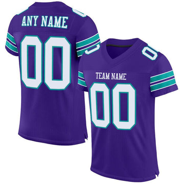 Custom Purple White-Aqua Mesh Authentic Football Jersey