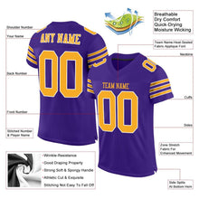 Load image into Gallery viewer, Custom Purple Gold-White Mesh Authentic Football Jersey