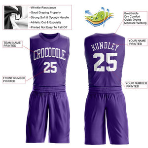 Custom Purple White Round Neck Suit Basketball Jersey
