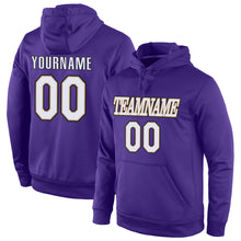 Load image into Gallery viewer, Custom Stitched Purple White-Old Gold Sports Pullover Sweatshirt Hoodie