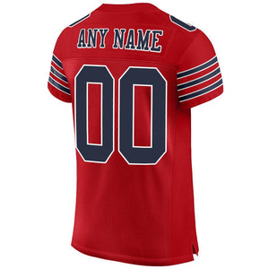 Custom Red Navy-White Mesh Authentic Football Jersey