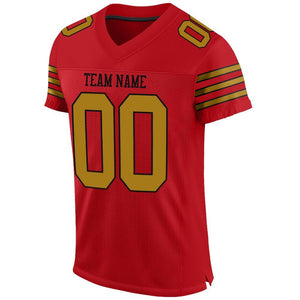Custom Red Old Gold-Black Mesh Authentic Football Jersey