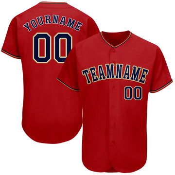 Custom Red Navy-Gray Authentic Baseball Jersey