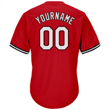 Load image into Gallery viewer, Custom Red White-Black Authentic Throwback Rib-Knit Baseball Jersey Shirt