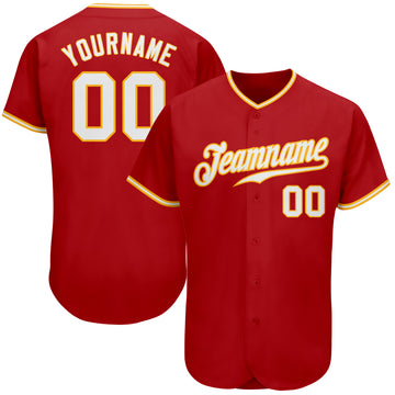 Custom Red White-Gold Authentic Baseball Jersey