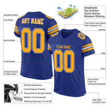 Load image into Gallery viewer, Custom Royal Gold-White Mesh Authentic Football Jersey