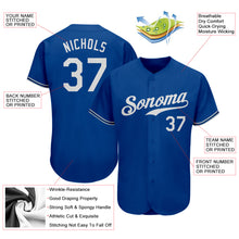 Load image into Gallery viewer, Custom Royal White Authentic Baseball Jersey