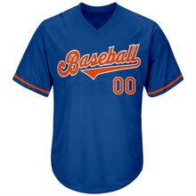 Load image into Gallery viewer, Custom Royal Orange-White Authentic Throwback Rib-Knit Baseball Jersey Shirt