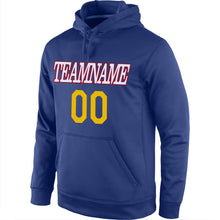 Load image into Gallery viewer, Custom Stitched Royal Gold-Red Sports Pullover Sweatshirt Hoodie