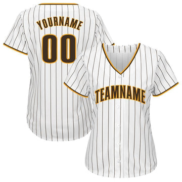 Custom White Brown Strip Brown-Gold Baseball Jersey