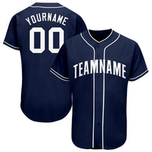 Load image into Gallery viewer, Custom Navy White Baseball Jersey