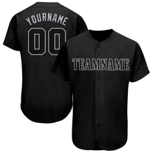 Load image into Gallery viewer, Custom Black Gray Baseball Jersey