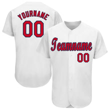 Load image into Gallery viewer, Custom White Red-Navy Baseball Jersey