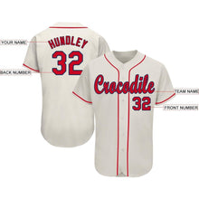 Load image into Gallery viewer, Custom Cream Red-Navy Baseball Jersey