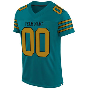 Custom Teal Old Gold-Black Mesh Authentic Football Jersey