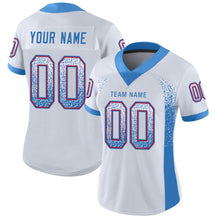 Load image into Gallery viewer, Custom White Powder Blue-Red Mesh Drift Fashion Football Jersey