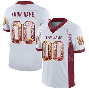 Custom White Burgundy-Gold Mesh Drift Fashion Football Jersey