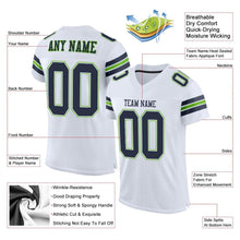 Load image into Gallery viewer, Custom White Navy-Neon Green Mesh Authentic Football Jersey