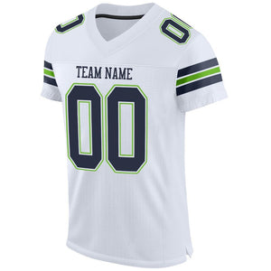 Custom White Navy-Neon Green Mesh Authentic Football Jersey