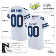 Load image into Gallery viewer, Custom White Navy-Powder Blue Mesh Authentic Football Jersey