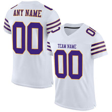 Load image into Gallery viewer, Custom White Purple-Gold Mesh Authentic Football Jersey