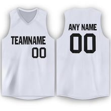 Load image into Gallery viewer, Custom White Black V-Neck Basketball Jersey
