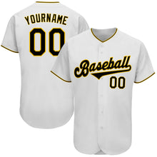 Load image into Gallery viewer, Custom White Black-Gold Authentic Baseball Jersey