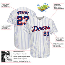 Load image into Gallery viewer, Custom White Royal Strip Royal-Red Authentic Baseball Jersey