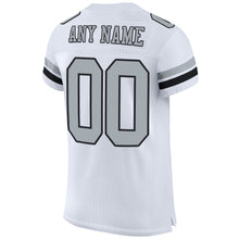 Load image into Gallery viewer, Custom White Silver-Black Mesh Authentic Football Jersey