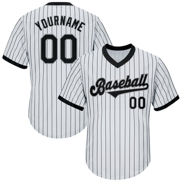 Custom White Black Strip Black-Gray Authentic Throwback Rib-Knit Baseball Jersey Shirt