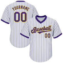 Load image into Gallery viewer, Custom White Purple Strip Purple-Gold Authentic Throwback Rib-Knit Baseball Jersey Shirt