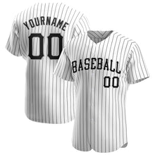 Load image into Gallery viewer, Custom White Black Strip Black-Gray Authentic Baseball Jersey