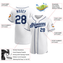 Load image into Gallery viewer, Custom White Navy-Powder Blue Authentic Baseball Jersey