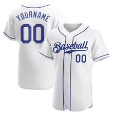 Load image into Gallery viewer, Custom White Royal Authentic Baseball Jersey
