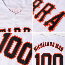 Load image into Gallery viewer, Custom White Black-Orange Authentic Baseball Jersey