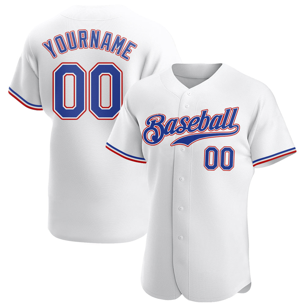 Custom White Royal-Red Authentic Baseball Jersey