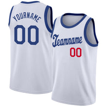 Load image into Gallery viewer, Custom White Royal-Red Round Neck Rib-Knit Basketball Jersey