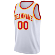 Load image into Gallery viewer, Custom White Red-Gold Round Neck Rib-Knit Basketball Jersey