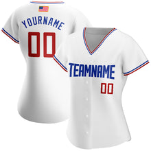 Load image into Gallery viewer, Custom White Red-Royal Authentic American Flag Fashion Baseball Jersey