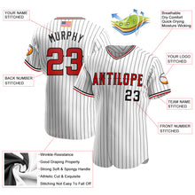 Load image into Gallery viewer, Custom White Black Strip Red-Black Authentic American Flag Fashion Baseball Jersey